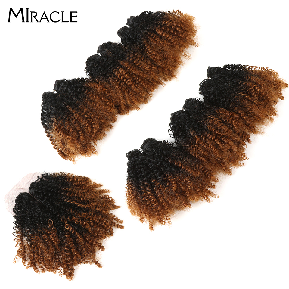 "Miracle Ombre Synthetic Weave 14"" Short Jerry Curl Curly Hair Bundles With Closure For African American Women 200g 7pcs/lot"