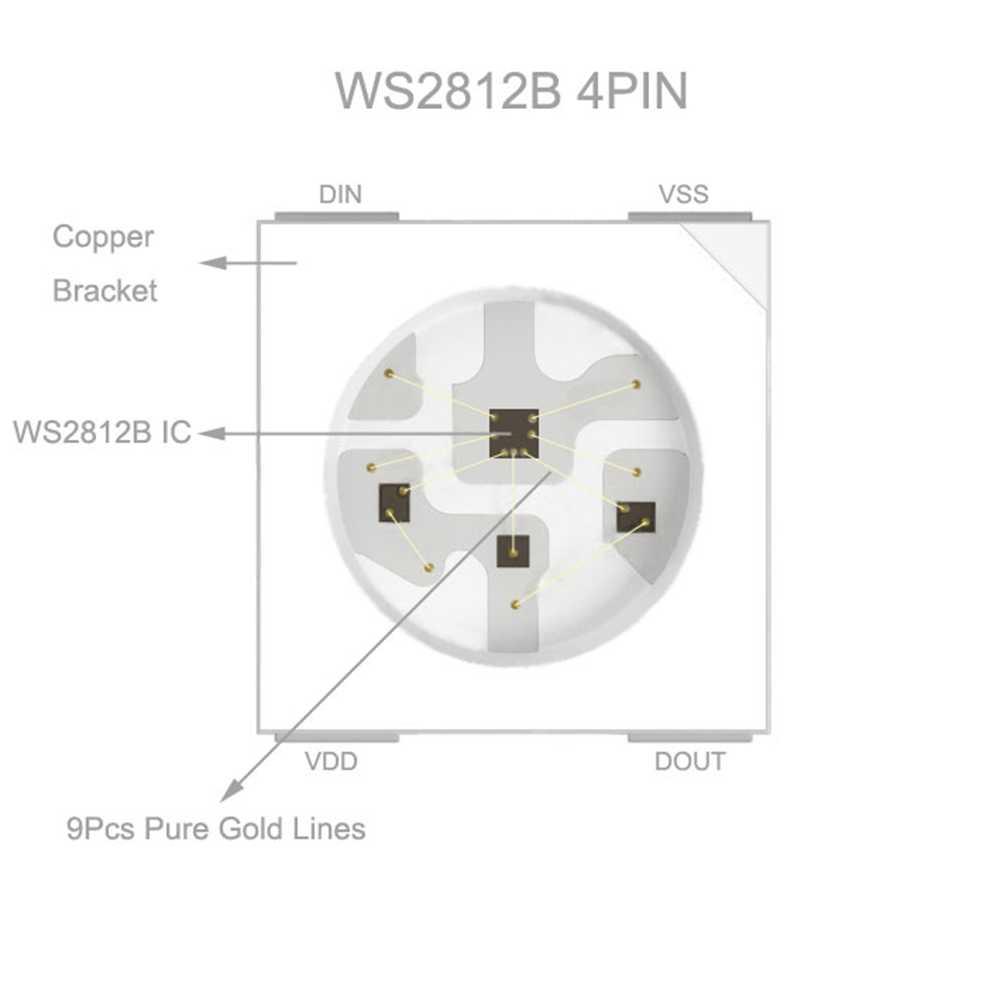 Tira led de 1m, 2m, 3m, 4m e 5m, ws2812b e ws2812, tira led rgb inteligente, individualmente endereçável, preta/branca, pcb, à prova d' água ip30/65/67 dc5v