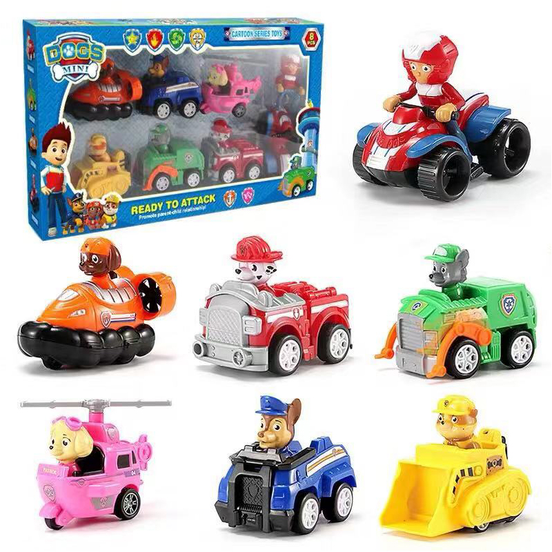 6/12 Pcs/set Paw Patrol Car Puppy Patrol Juguete Patrulla Canina Cartoon Car Toy Set Model Kids Toys For Children Christmas Gift