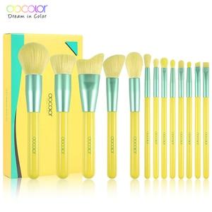 Image 1 - Docolor 13PCS Neon Makeup brushes set Professional Beauty Make up brush Natural hair Foundation Powder Blush Eye Shadow Brush