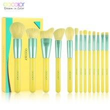 Docolor 13PCS ניאון איפור מברשות סט מקצועי יופי איפור מברשת טבעי שיער קרן אבקת סומק צלליות מברשת