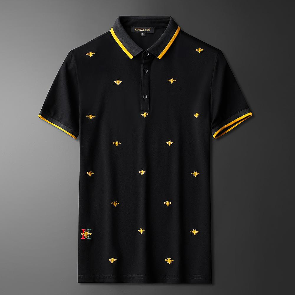High New Striped 2020 Men Collar Embroidered Spider Bee Fashion Polo Shirts Shirt Hip Hop Skateboard Cotton Polos Top Tee #N211