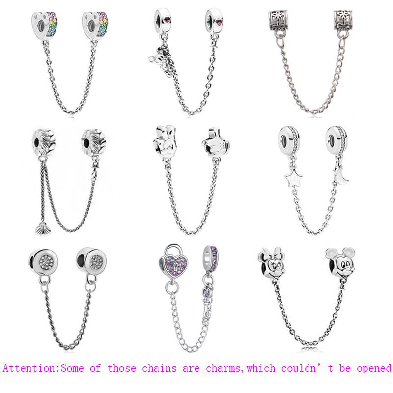 2019 New Alloy Beads Charms Star Love Heart Mickey Safety Chain Rose Gold Stopper Fit Women Pandora Bracelet Bangle DIY Jewelry(China)