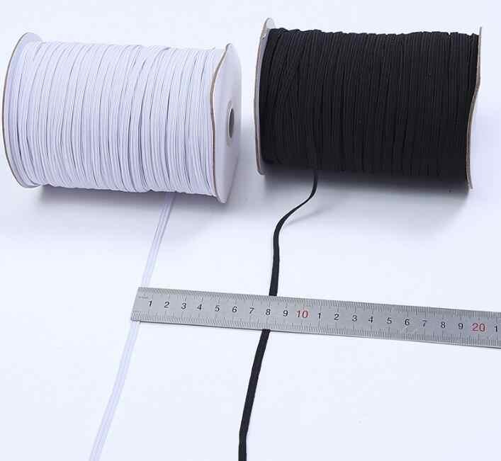 Mascarillas elásticas de banda elástica de 3/6/8/10/12mm, banda de goma plana blanca y negra de alta elasticidad, banda para la cintura, correa para coser con cuerda elástica para máscara DIY 5z