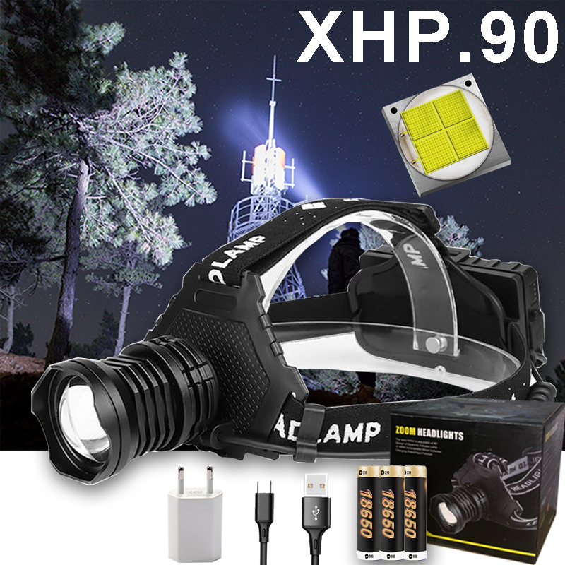 300000 LM XHP90.2 LED Headlight XHP90 High Power LED Head LampHead Lamp USB Rechargeable Headlight Waterproof Zooma Fishing Ligh