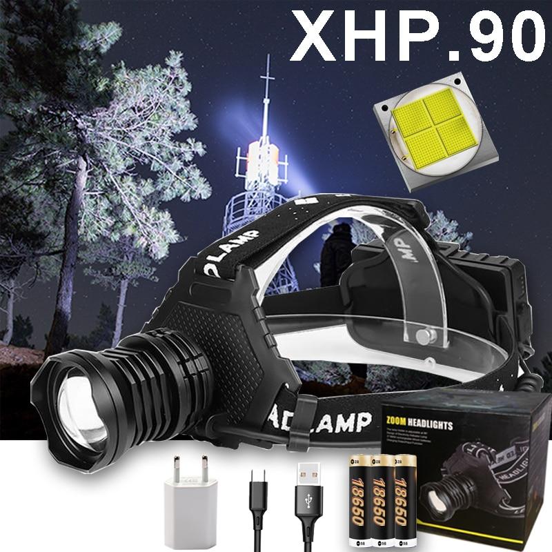 300000 LM XHP90.2 LED Headlight XHP90 High Power LED Head LampHead Lamp USB Rechargeable Headlight Waterproof Zooma Fishing Ligh