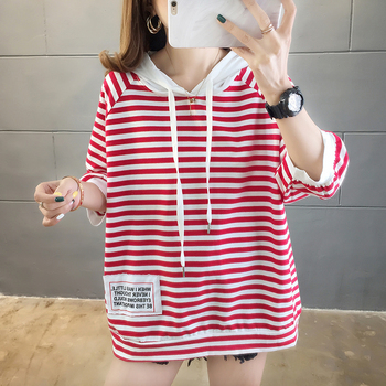 Women's Long Sweatershirt Oversized Hoodie 2020 Spring Summer Round Neck Long Sleeve Fashion Wild Striped Hooded Black red loose 2019 spring new women half sleeve loose flavour black dress long summer vestido korean fashion outfit o neck big sale costume
