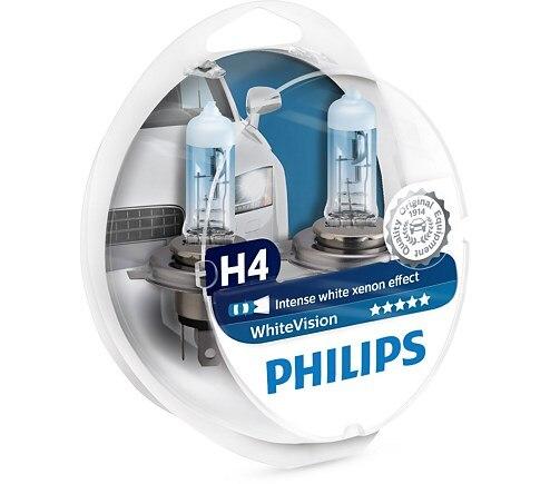 Lamp H4 12V 60/55W (P43t) White Vision + W5W 12 V-5 W (W2, 1x9 5d) WHV (2 PCs PHILIPS 12342WHVSM