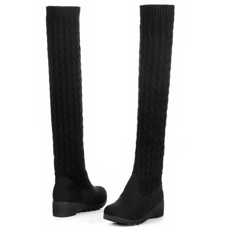 2020 Fashion Gebreide Vrouwen Knie Hoge Laarzen Elastische Slanke Herfst Winter Warme Lange Dij Hoge Laarzen Vrouw Schoenen Maat 40 WBS539