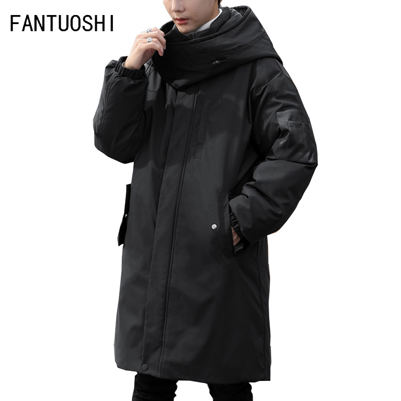 2019 New Clothing Jackets Solids   Parka   Fashion Overcoat Outerwear Long Thick Winter Coat men and women Warm Cotton Hooded coat