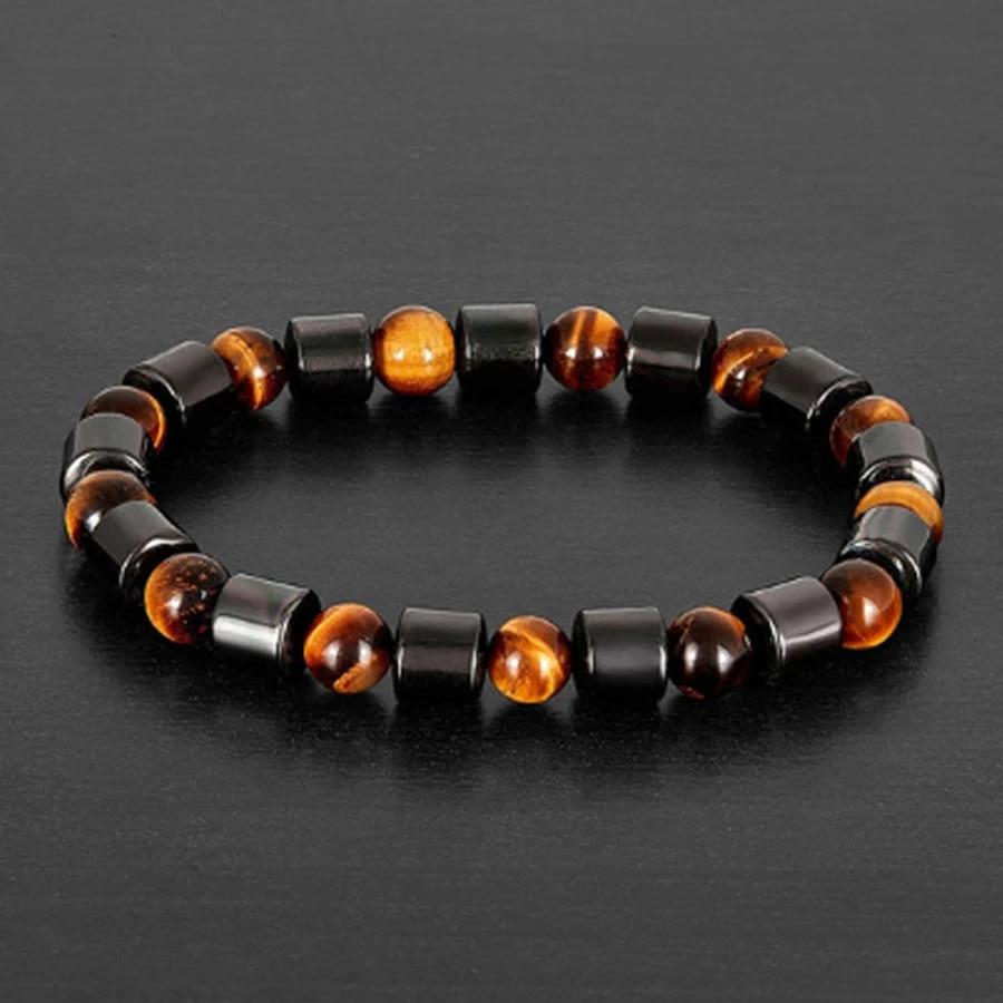 Beautiful Glass Hematite Charm Bracelet 7  8 Inch Daily Wear With Stainless Steel Chain.B-HEM-0167