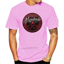 Nickelback Pink Logo Circle Womens Fitted T-Shirt-New and Official