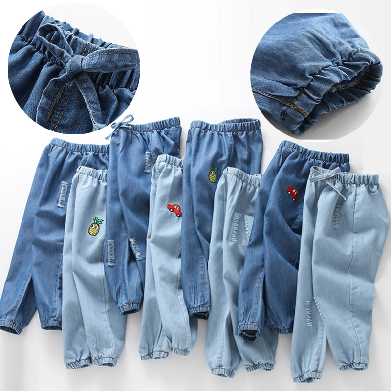 Kids Jeans Girls Summer Cartoon And Spring Casual for Boys Thin Loose Embroidered title=