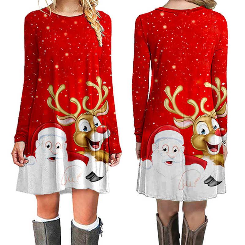 Модное рождественское платье для женщин зимние платья для женщин 2019 зимнее Новое рождественское мини-платье с принтом женская одежда с длинным рукавом и круглым вырезом