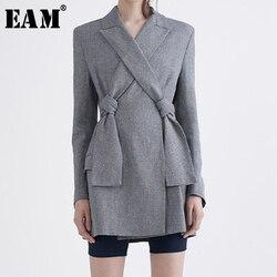 Женский короткий Блейзер [EAM], Серый свободный пиджак с длинными рукавами и отложным воротником, весна-осень 2020, LI194