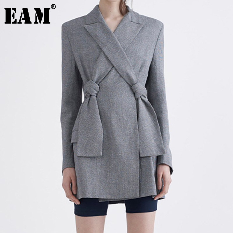 [EAM]  Women Cross Bandage Brief Gray Blazer New Lapel Long Sleeve Loose Fit  Jacket Fashion Tide Spring Autumn 2020 LI194