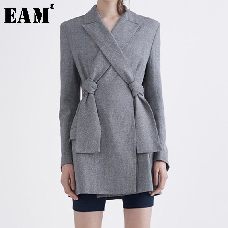 [EAM]  Women Cross Bandage Brief Gray Blazer New Lapel Long Sleeve Loose Fit  Jacket Fashion Tide Spring Autumn 2020 LI194