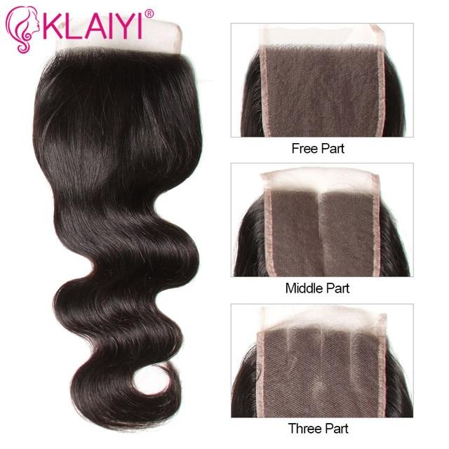 KLAIYI Hair Brazilian Body Wave With Closure 4 PCS Remy Hair Weave Bundles With Closure 100% Human Hair 3 Bundles With Closure 4