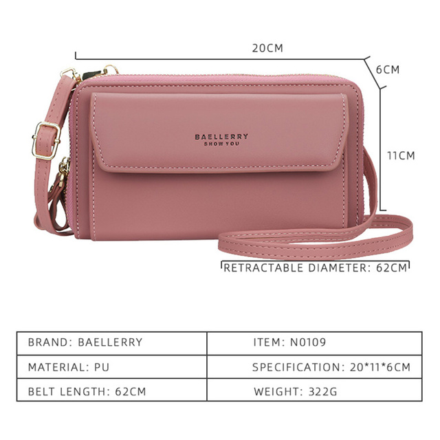 Baellerry Women Wallet Double Zipper Summer Female Shoulder Bag Top Quality Cell Phone Pocket Bags Fashion Crossbody Bags 4