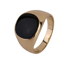 GENBOLI Never Fade Metal Ring Gold-color Black Onyx Stone Engagement Wedding Ring Electroplating Polishing A35(China)