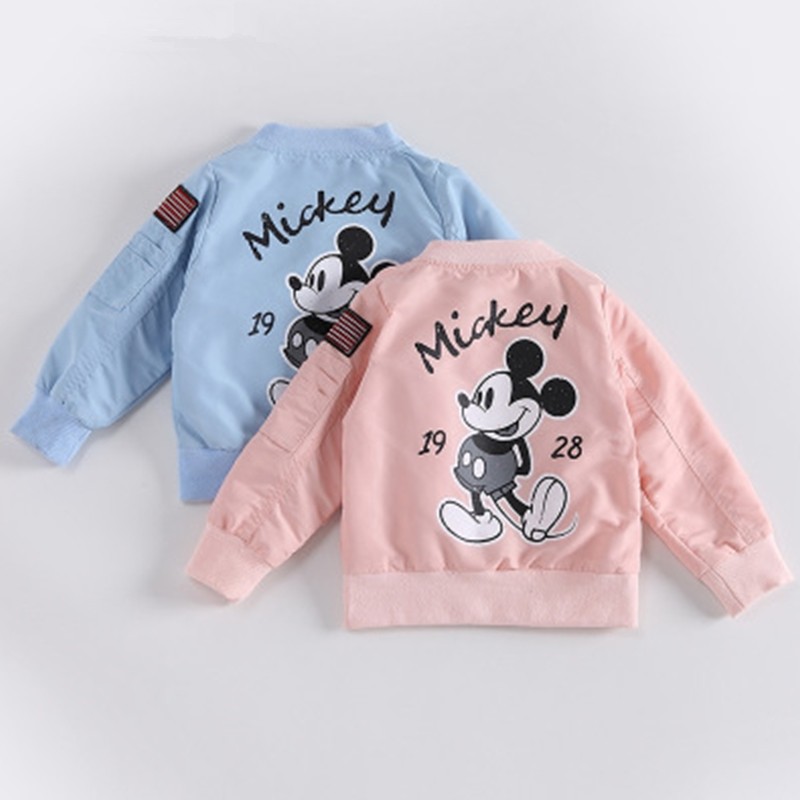 Children Cartoon Mickey Jacket Minnie Printed Cotton Outwear Long Sleeve Boys Girls Clothes Fashion High Quality Kids Clothing