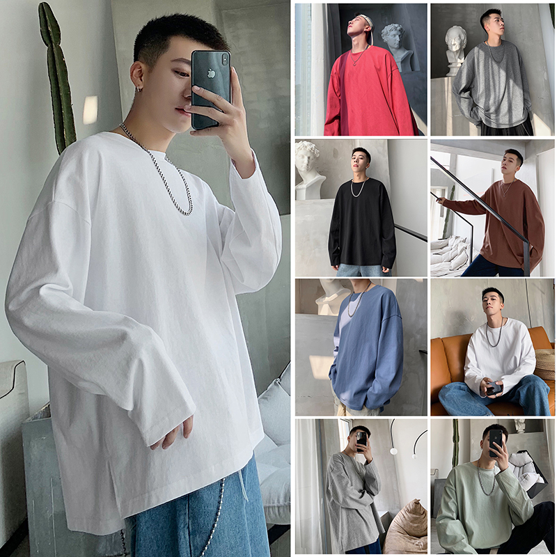 Privathink 2020 Men's White Tees Casual O-neck Long Sleeve Spring T Shirts Harajuku Solid Color Pullovers 8 Colors Ovesize Tops