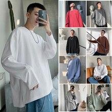 Privathinker 2019 Men Woman O-Neck Korean Autumn Tshirts Mens Long Sleeve Solid