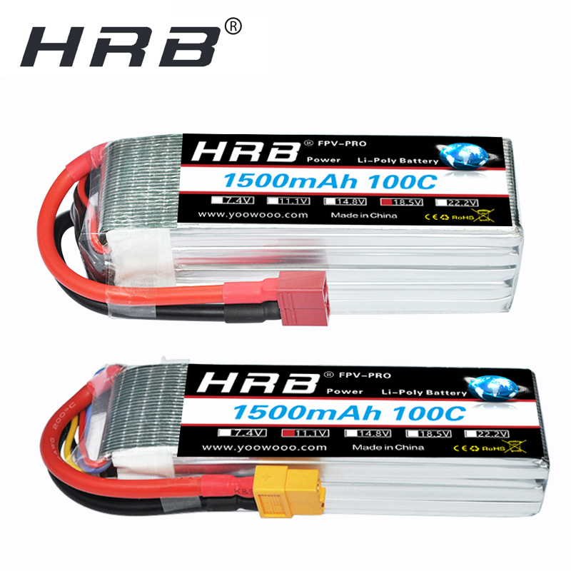 HRB Lipo Battery 2S 3S 4S 11.1V 14.8V 5S 6S 7.4V 18.5V 22.2V 1500mAh 100C High Rate XT60 for Airplane FPV Race Drone QAV 250 300(China)