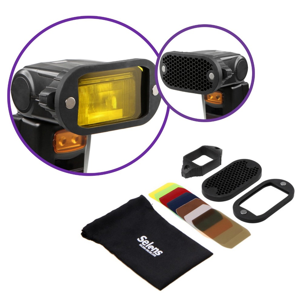 Selens Flash Speedlight Honeycomb Grid Diffuser Reflector with Magnetic Gel Band 7Pcs filters Flash Accessories Kit