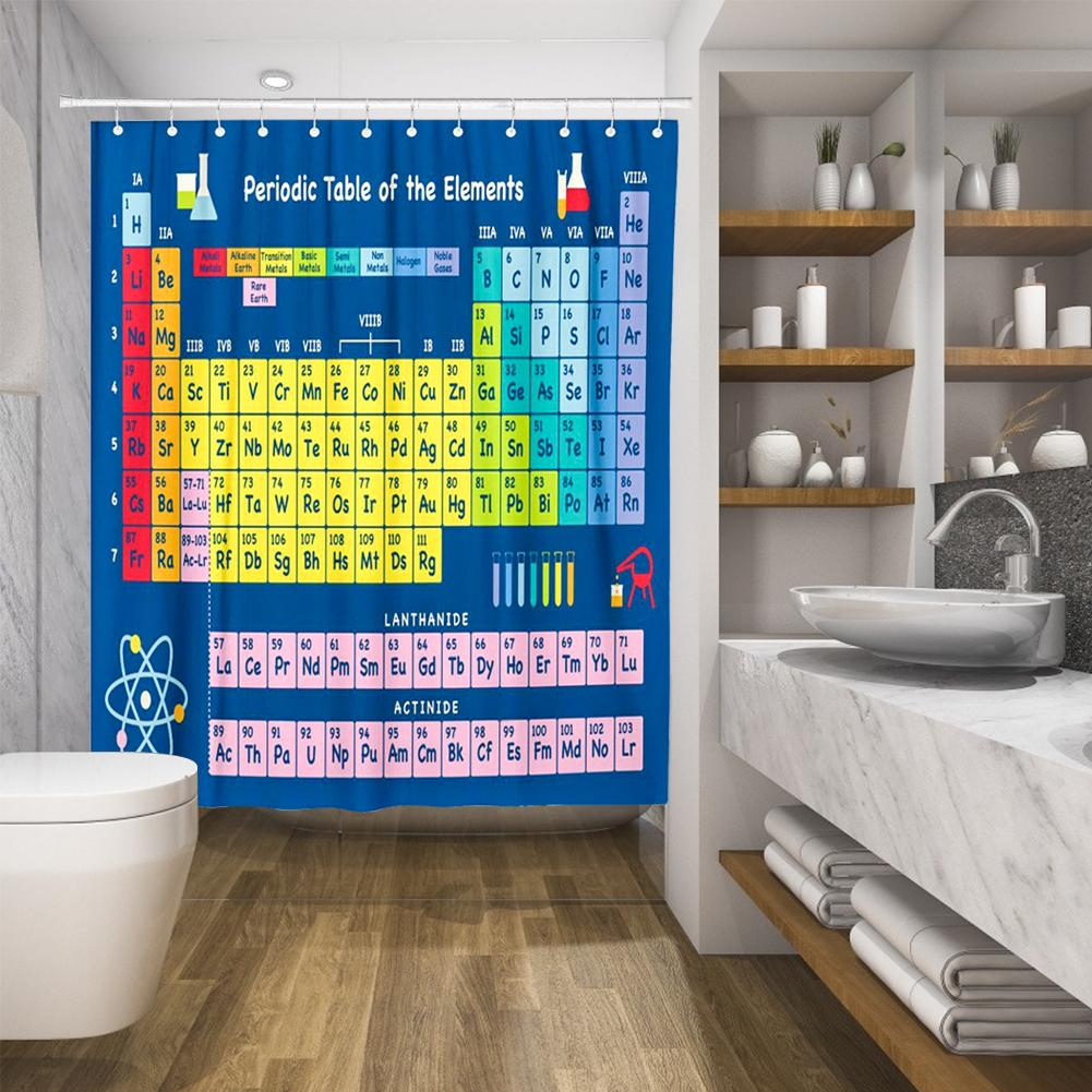 Hot New Periodic Table of Elements Bathroom Curtains Waterproof 3D Print Shower Curtain White Fabric Curtain For The Bath in Shower Curtains from Home Garden