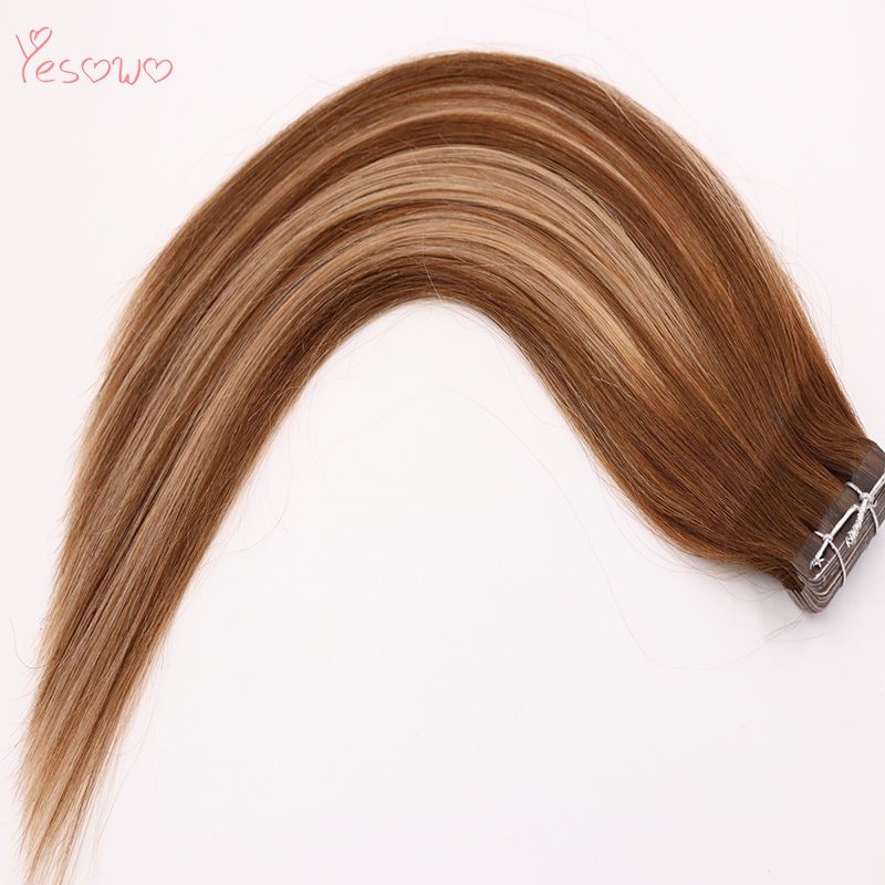 Yesowo Cambodian Remy Skin Weft Silky Straight Highlight 4/24/4# 2.5g/piece High Quality Cheap Tape In Human Hair