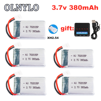 Lipo Battery Original 3.7V 380mah For Hubsan X4 H107 107L H107D JD385 JD388 RC Helicopter Spare Parts Drone 752035 battery 5pcs image
