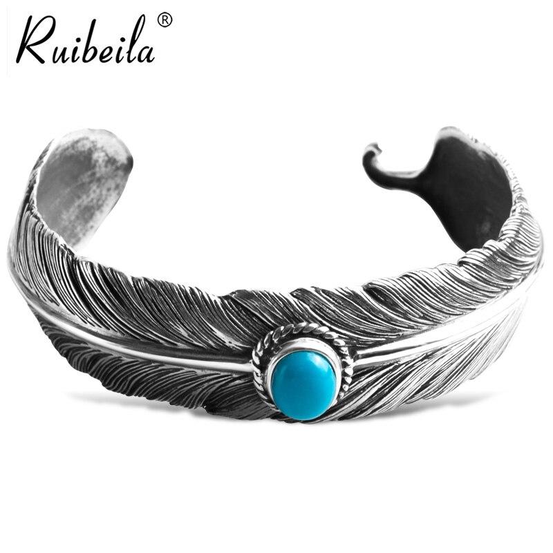 Nouveau authentique style indien en argent 925 Takahashi Goro turquoise plume à la main ouverture bracelet masculin