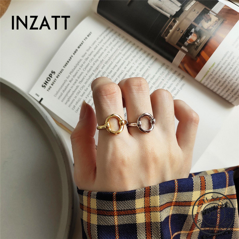 INZATT Real 925 Sterling Silver Hollow Round Opening Ring For Fashion Women Minimalist Ring Fine Jewelry Trendy Gift 2019
