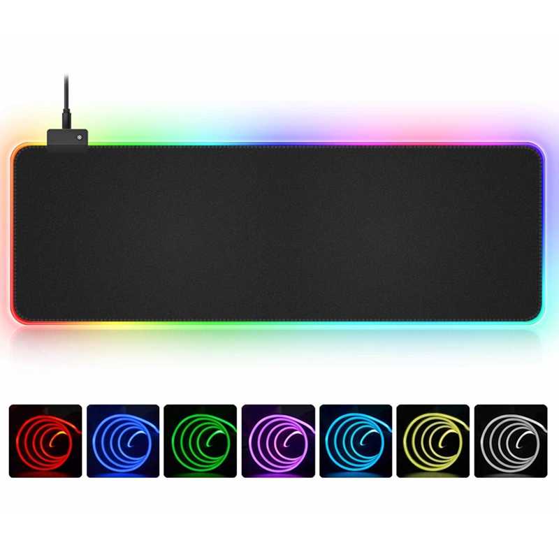 RGB Soft Large Gaming Mouse Pad Oversize Glowing Led Extended Mousepad Non-Slip Rubber Base Computer Keyboard Pad Mat(China)