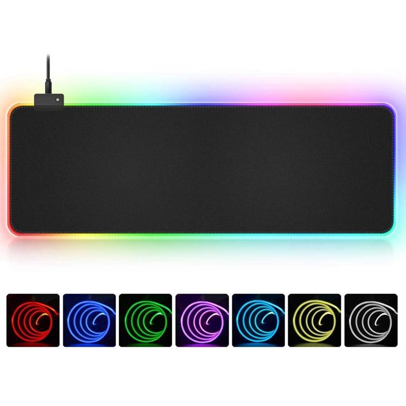 RGB мягкий большой игровой коврик для мыши негабаритный  светящийся светодиодный расширенный коврик для мыши нескользящая  резиновая основа компьютерная клавиатура коврик-in Коврики для мыши from  Компьютеры и офисная техника on AliExpress