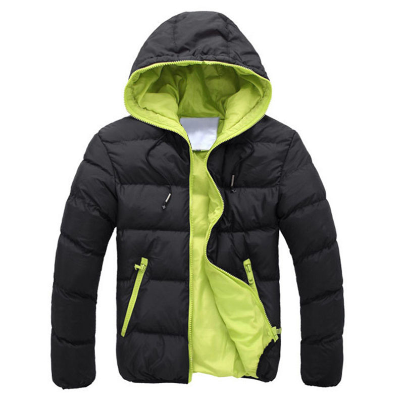 Men Down Coat Basic Winter Warm Coat Hooded Long Sleeve Zipper Pocket Coat Casual Male Jacket Black+Orange