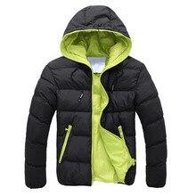 Men down coat basic Winter Warm coat Hooded Long Sleeve Zipper Pocket Coat Casua