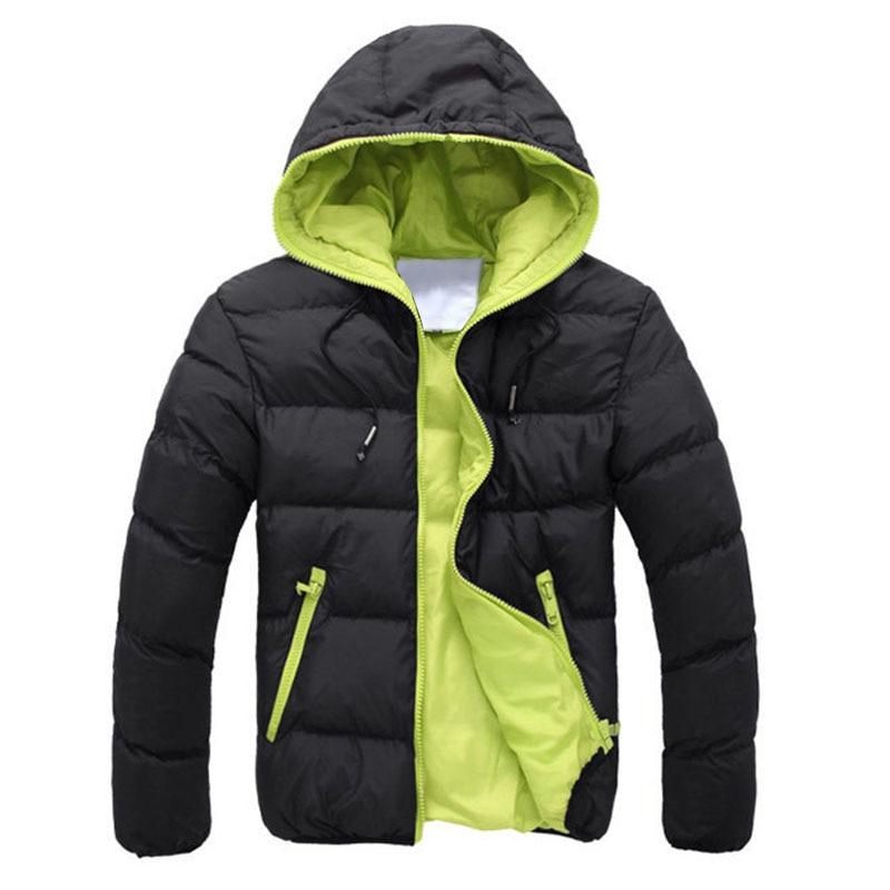 Men   down     coat   basic Winter Warm   coat   Hooded Long Sleeve Zipper Pocket   Coat   Casual male Jacket Black+Orange