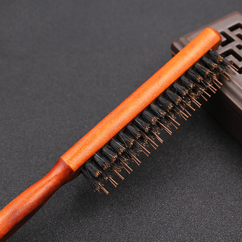 Professional Salon Teasing Back Hair Brushes Wooden Slim Line Comb Bristle Hairbrush Extension Hairdressing Styling Tools Brown