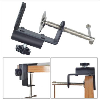 Cantilever Bracket Clamp Holder Metal Desk Lamp Clip Fittings Base Hose with 12MM Hole Diameter and Non-slip Mat for Mic Stand image