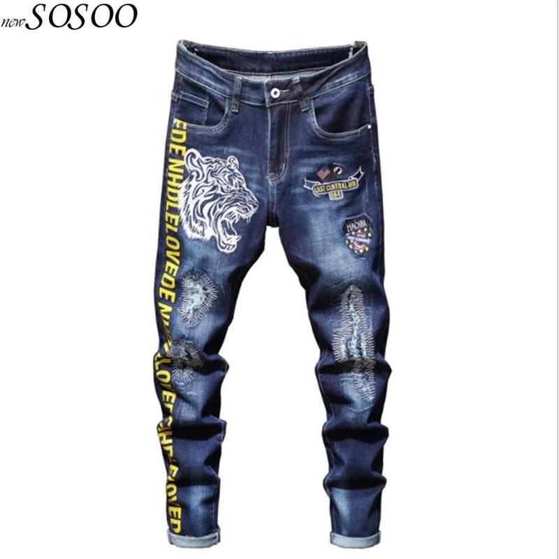 New Men Jeans 100% Cotton Classic Tiger Embroidery Beggars Jeans Trousers Cool Top Quality Fashion Men Jeans Free Shipping #2031