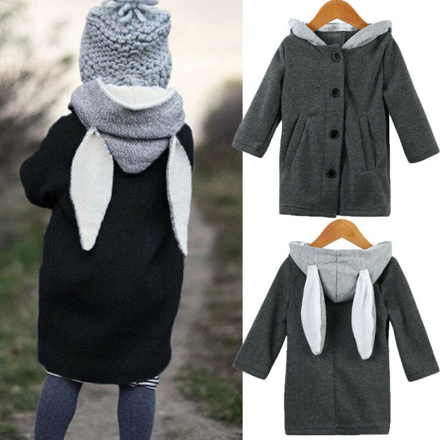 Toddler Clothes  Cute Long Rabbit Ear Hooded Coat 5