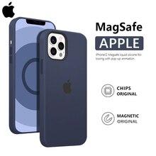 Оригинальный магнитный чехол Apple Magsafe из жидкого силикона для iPhone 12 Pro Max 12 Mini, чехол с защитой от падения и беспроводной зарядкой