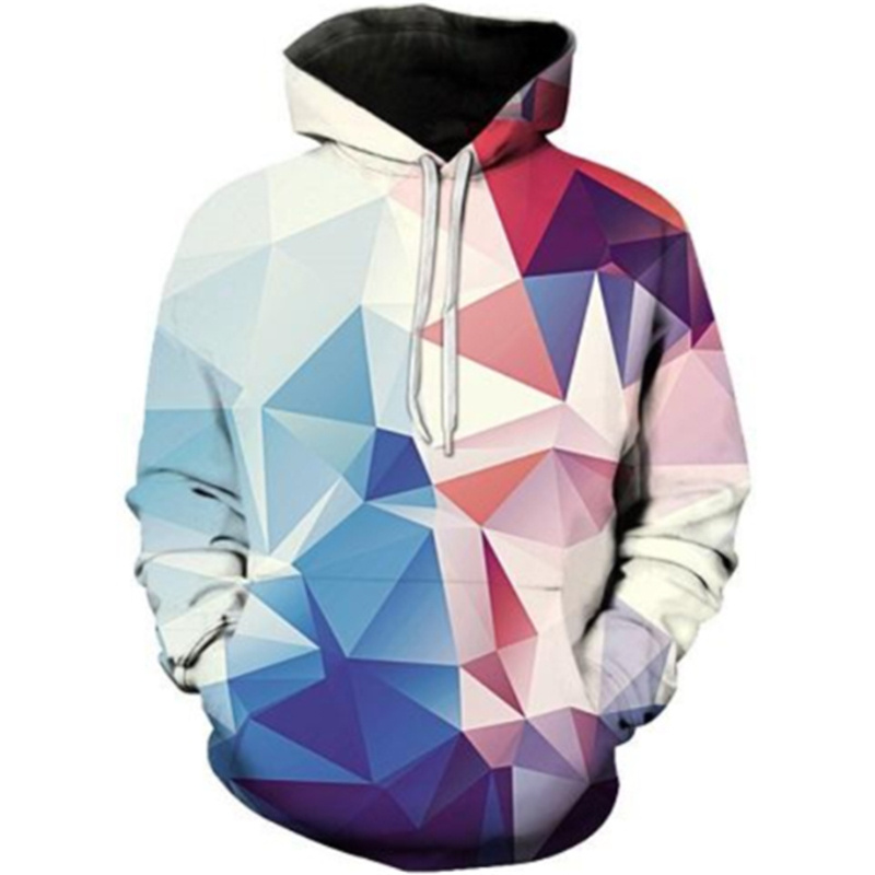 New Trendy Geometric Hoodies Men's Clothing Casual Long Sleeve Pullover Tops Abstract Plaid 3D Print Sweatshirt For Male