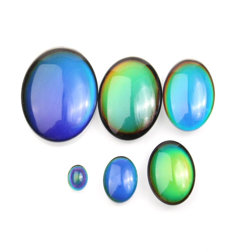 5pcs/bag Magic Accessories Cabochon Setting Supplies Color Change By Temperature Oval Shape Making For DIY Jewelry