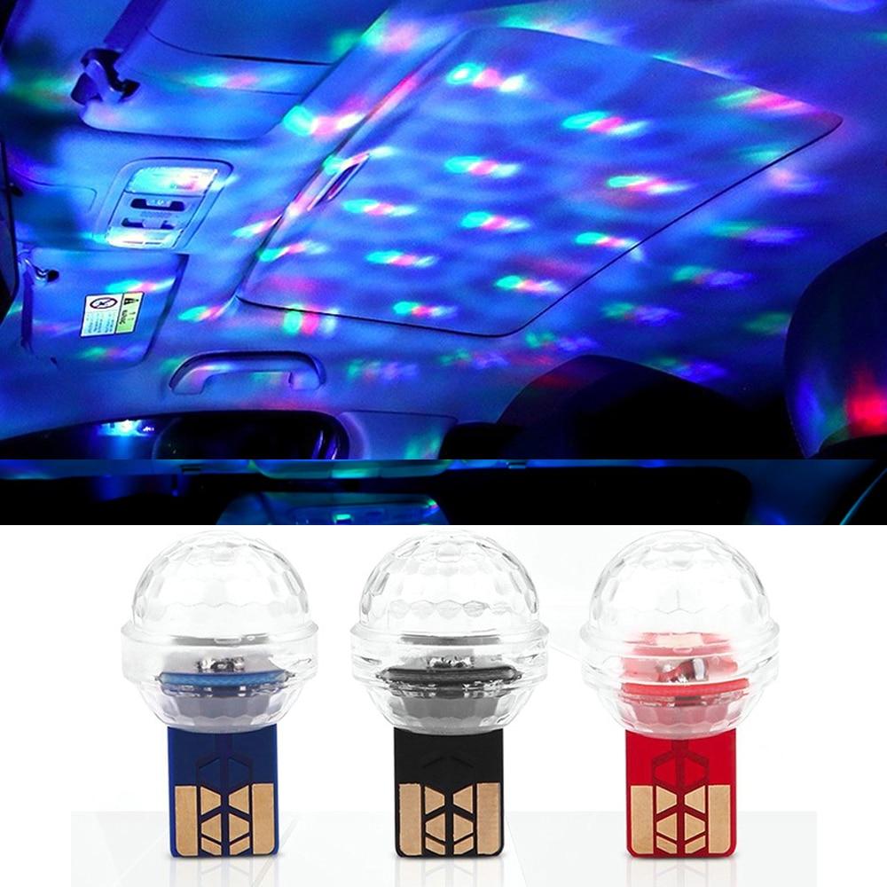 Яркий Мини светодиодный USB автомобильный окружающий светильник для салона автомобиля атмосферный светильник ing RGB музыкальный звук USB декор...