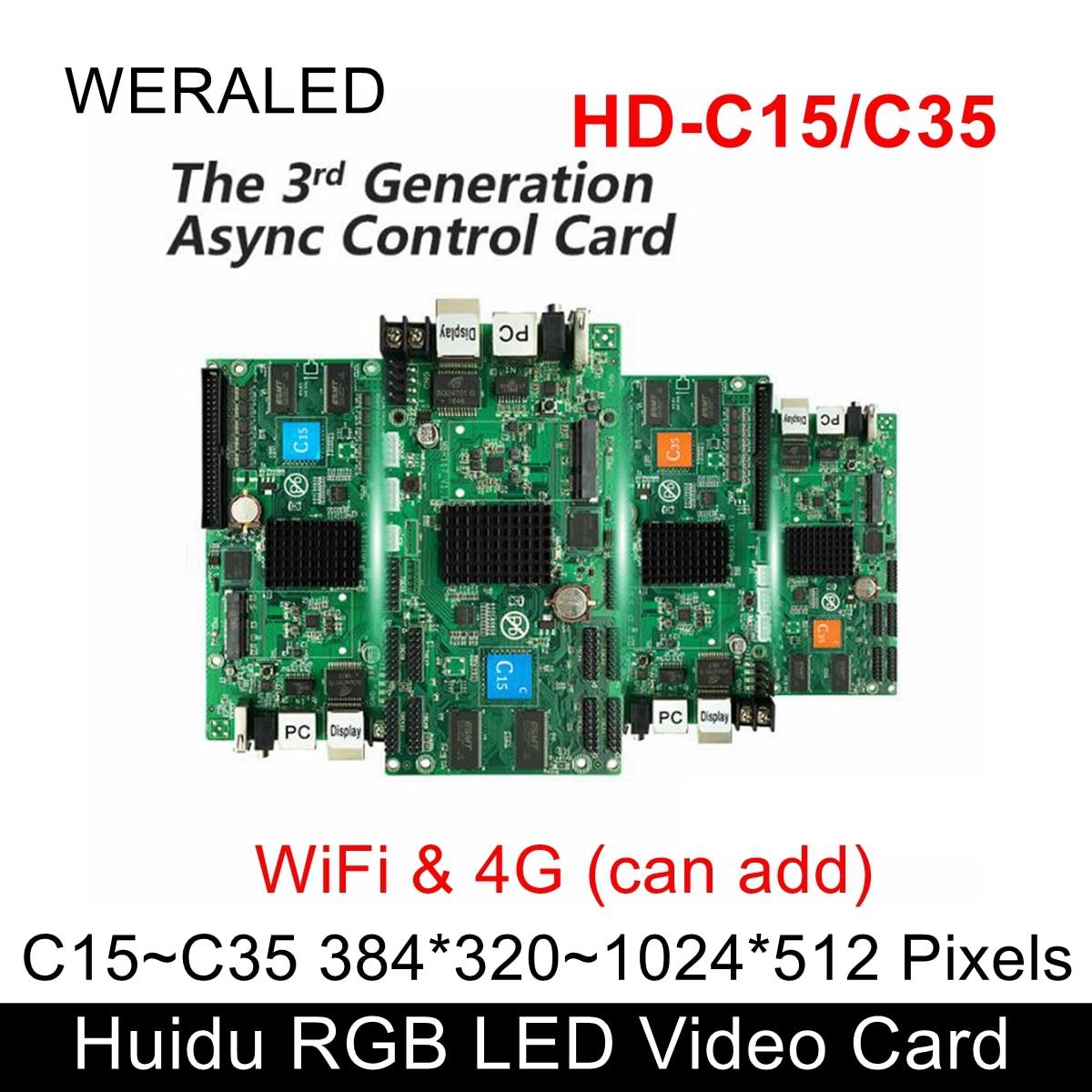 Huidu HD-C15C Asynchronization Full Color LED Video Card ,Can Add Wireless WIFI/3G/4G Modular( HD-C15/C35/A3/HD-T901 On Sale)