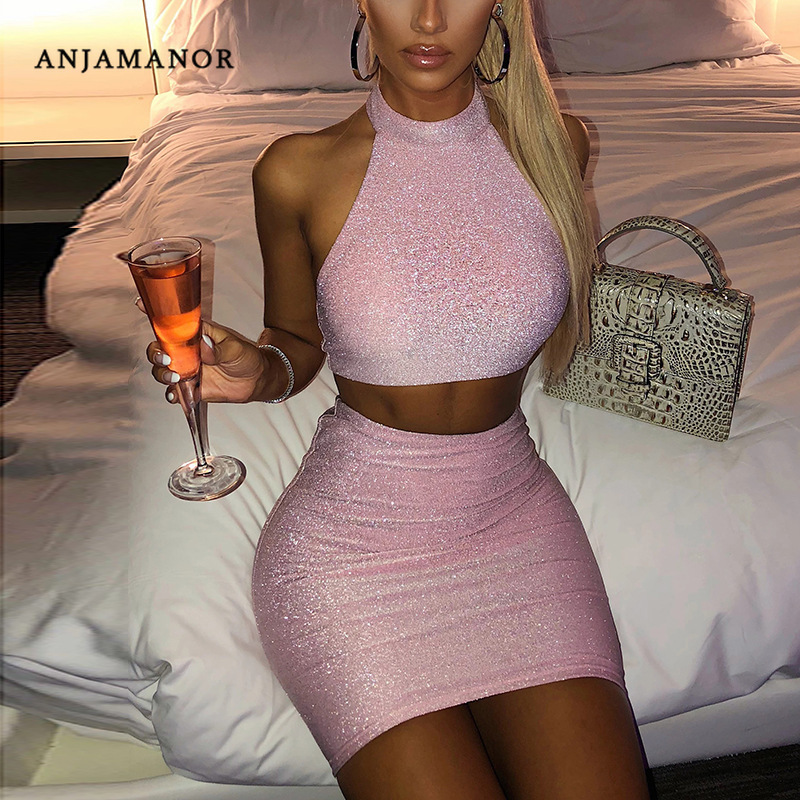 ANJAMANOR Glitter Sexy Two Piece Set Short Summer Clothes Women Pink Going Out Club Outfits 2 Piece Crop Top Skirt Set D97-AC76