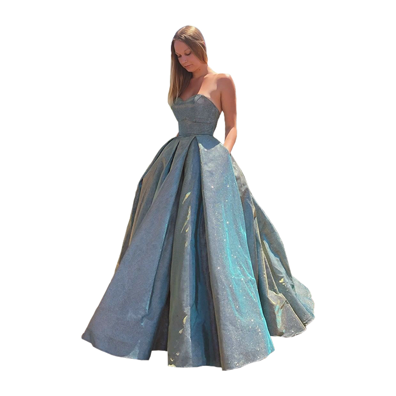 Sparkly Sweetheart Prom Dresses 2020 Strapless Prom Gown Lace Up Back A-line Formal Party Dress With Pockets Vestido De Festa